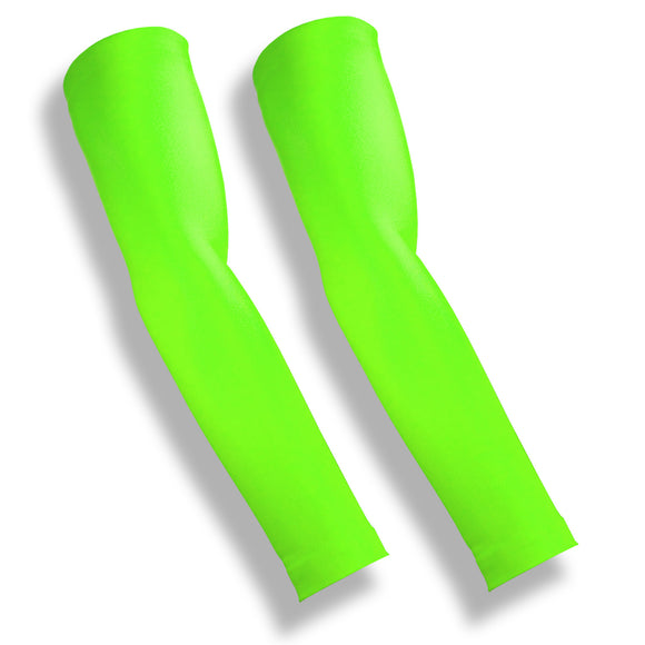 iM Sports MILER Neon Green Arm Compression Sleeves for Running