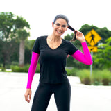 women wear uv sleeves while running