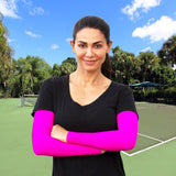 pink arm compression sleeves for tennis