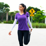 womens white running sun sleeves