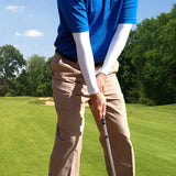 the best golfer in the world has a perfect grip and blue shirt