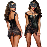 Sexy Lingerie with G-string Sets Women Faux Leather&Lace Burlesque
