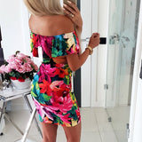 Sexy Off Shoulder Short Sleeve Flower Print Mini Dress