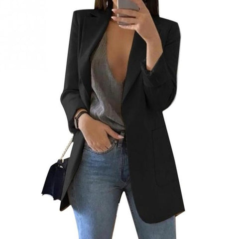 Fashion Solid Color Office Blazer