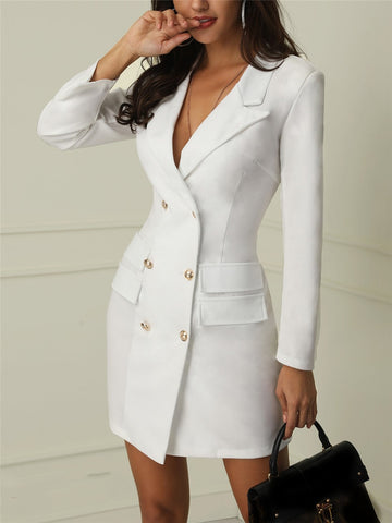 Women Long Sleeve V Neck Double Breasted Blazer Dress
