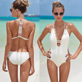 Black White Cross Monokini Sexy V Neck