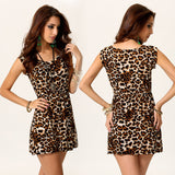 Sexy Leopard Evening Cocktail Party Mini Dress