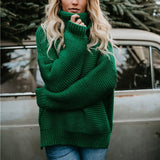 Retro Turtleneck Knitted Long Pullover