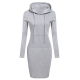 Autumn Winter Warm Sweatshirt Long-sleeved Dress Hooded