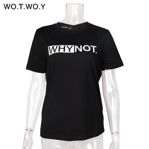 WHYNOT T-Shirt Women Cotton Summer Printed T-Shirt