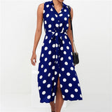 Long Sexy Summer Polka Dot Beach Chiffon Dress