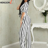 Deep V Neck Sashes Jumpsuit
