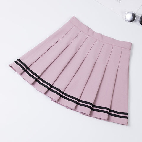 XS-XXL Four Colors High Waist A-Line Women Skirt Striped