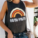 Women's Round Neck Rainbow Letter GOOD VIBES Tank Top