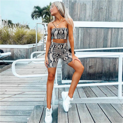 Sexy Snake Skin Print Two Piece Set