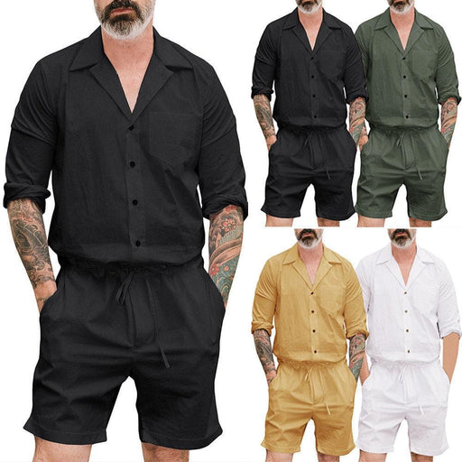 Mens Summer Jumpsuit Short Sleeve Cool Loose Romper Striped Shorts Trousers UK
