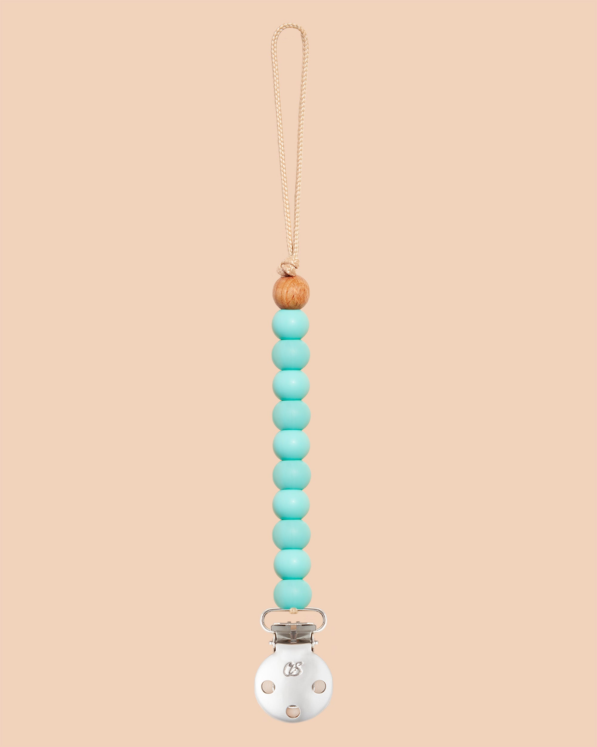 Duck Egg Blue Sienna Dummy Clip in Silver