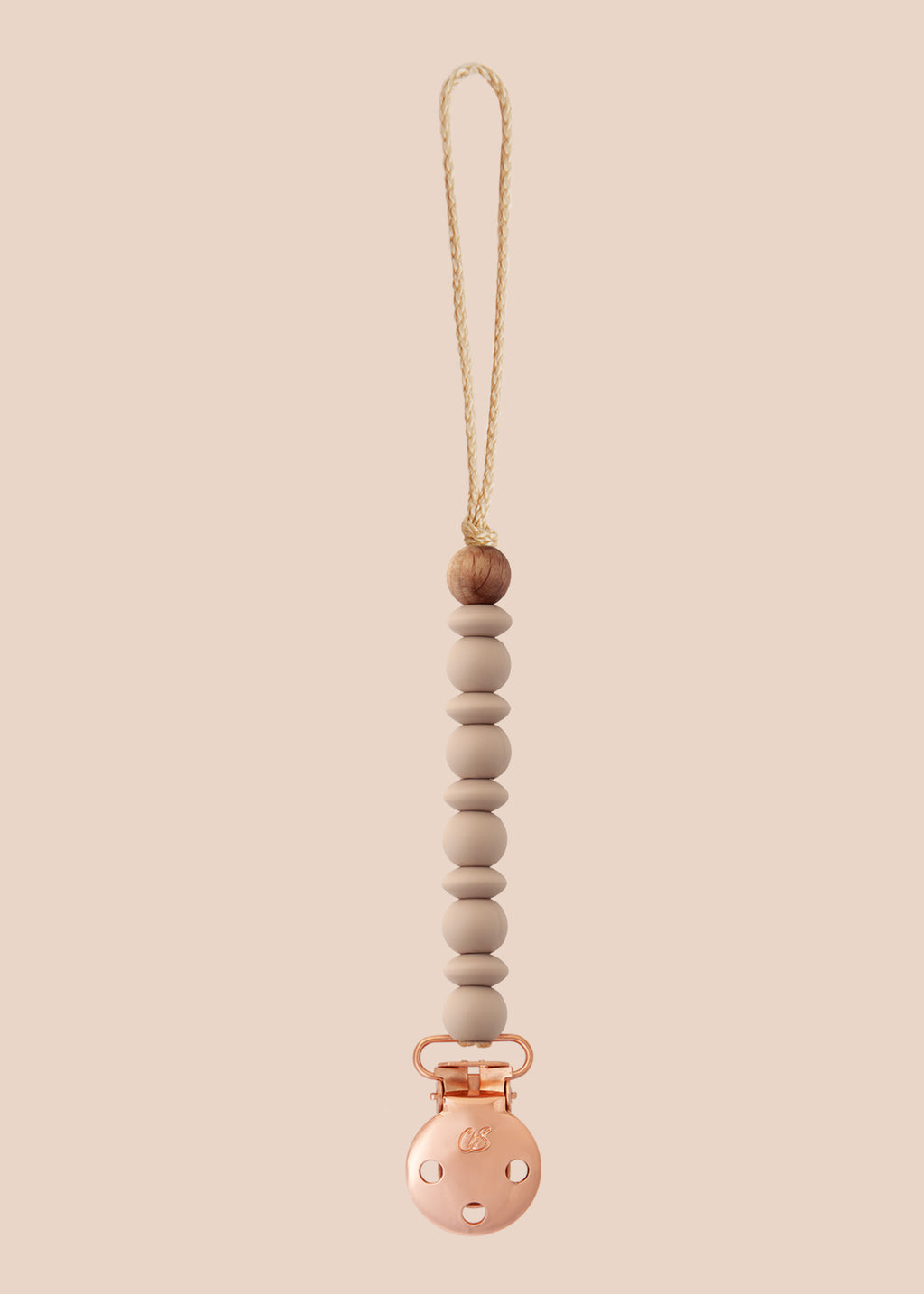 Luna Oatmeal Dummy Clip in Rose Gold