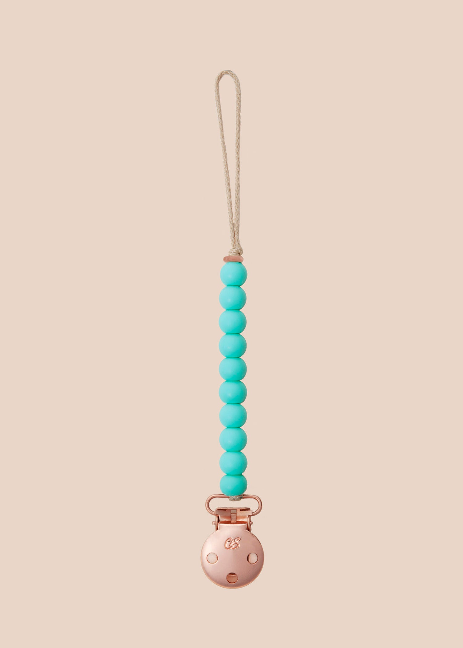 Luxe Duck Egg Blue Dummy Clip in Rose Gold