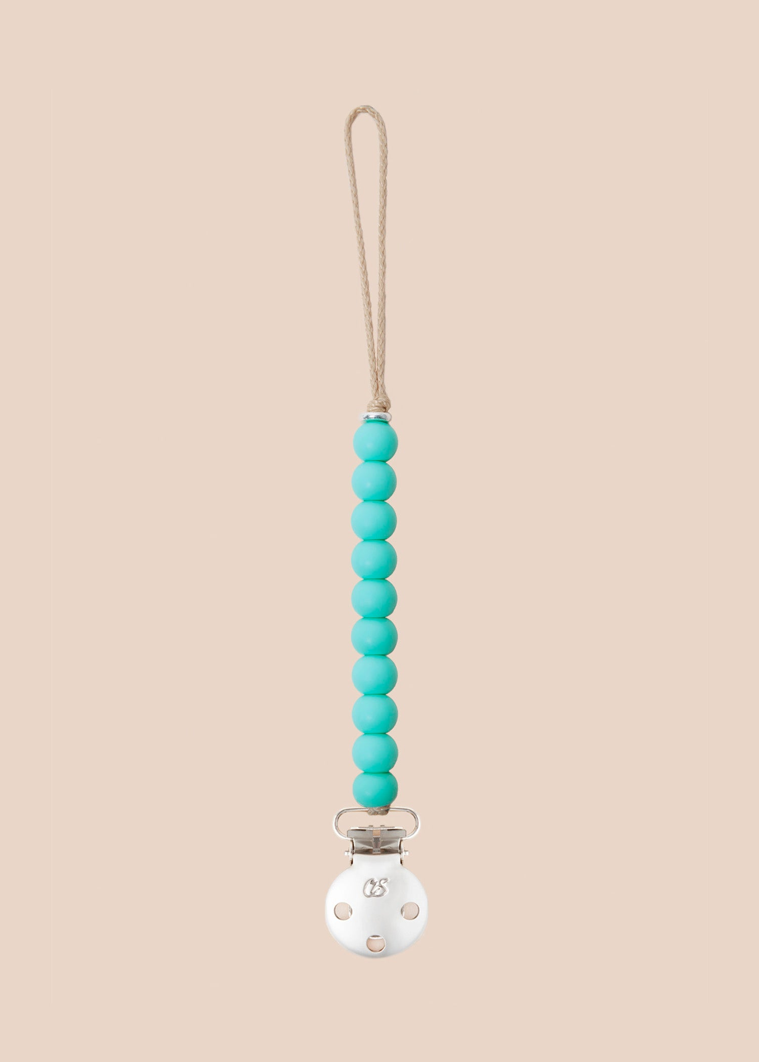 Luxe Duck Egg Blue Dummy Clip in Silver