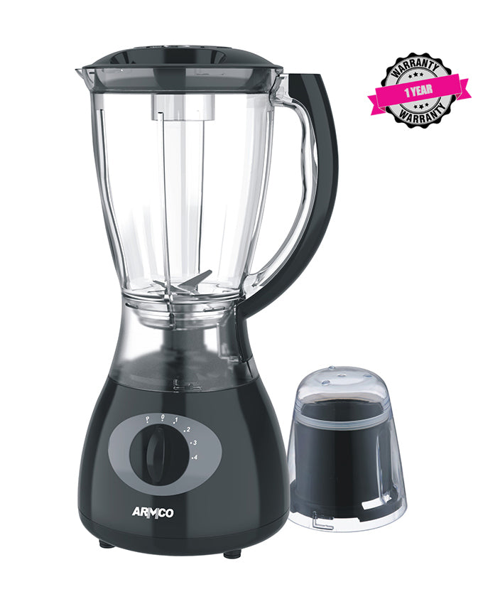 ARMCO ABL-355ECO 1.5L Blender,Stainless Steel Blades,Plastic Jar+Mill,Copper Motor,350W,Black&Silver