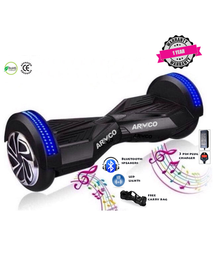 "ARMCO AHB-8B1 - 8"" Electric Hover Board, BT 4.0, 2 LED lights, Max Speed 12Km/h, FREE BAG, BLACK."