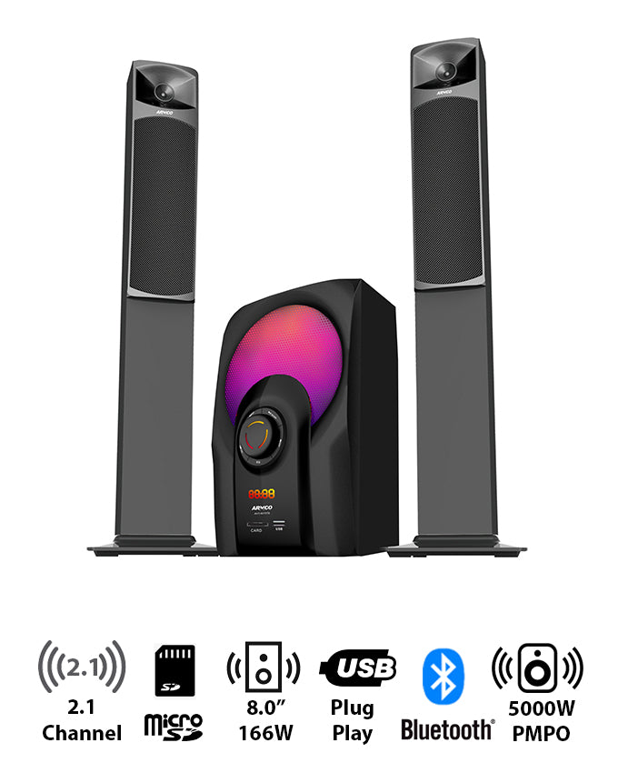"ARMCO AHT-8075 - 2.1 Channel, 8.0"" Sub Woofer, 5000W PMPO, Bluetooth, USB, SD CARD, FM Radio, Power Output 166W."