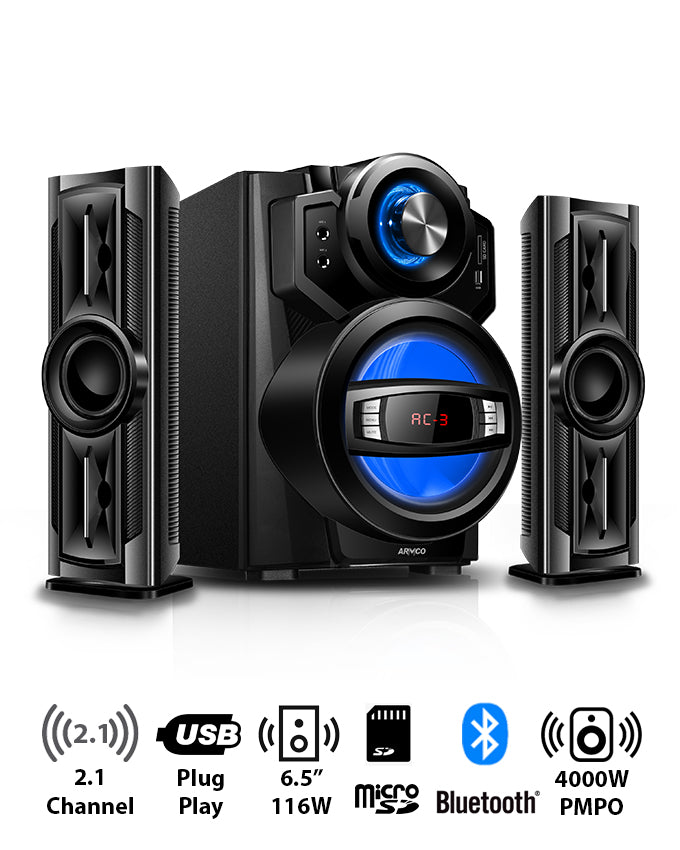 "ARMCO AHT-ZX30A - 2.1 Channel,  6.5"" Sub Woofer, 4000W PMPO, Bluetooth, USB, SD CARD, FM Radio, Power Output 116W."