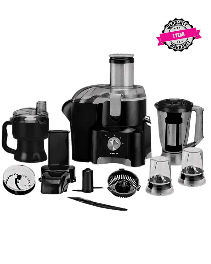ARMCO AJB-2000GC 11-in-1 Food Processor: Unbreakable Blender Jar - Elegant Silver and Black Finish.