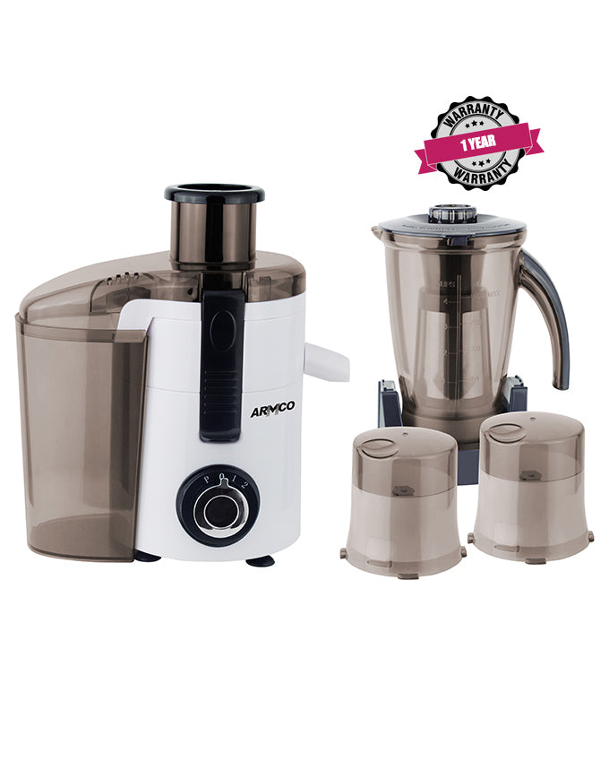 ARMCO AJB-850 5-in-1, Juicer, Blender, Grinder Mill, Mincer, Soyamilk Maker, 350W, White & Black.