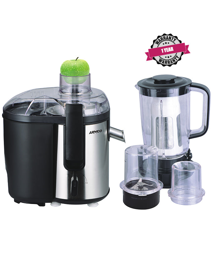ARMCO AJB-900(SS) Large 5-in-1 Food Processor - Juicer, Blender (1.5L), Grinder Mill, Mincer, Soyamilk Maker.