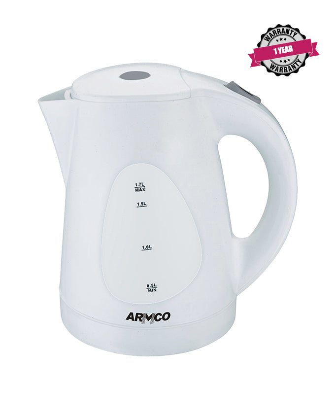 ARMCO Electric Kettle AKT-173LED in Kenya 1.7L Plastic Cordless Kettle 360°, 2200W, White