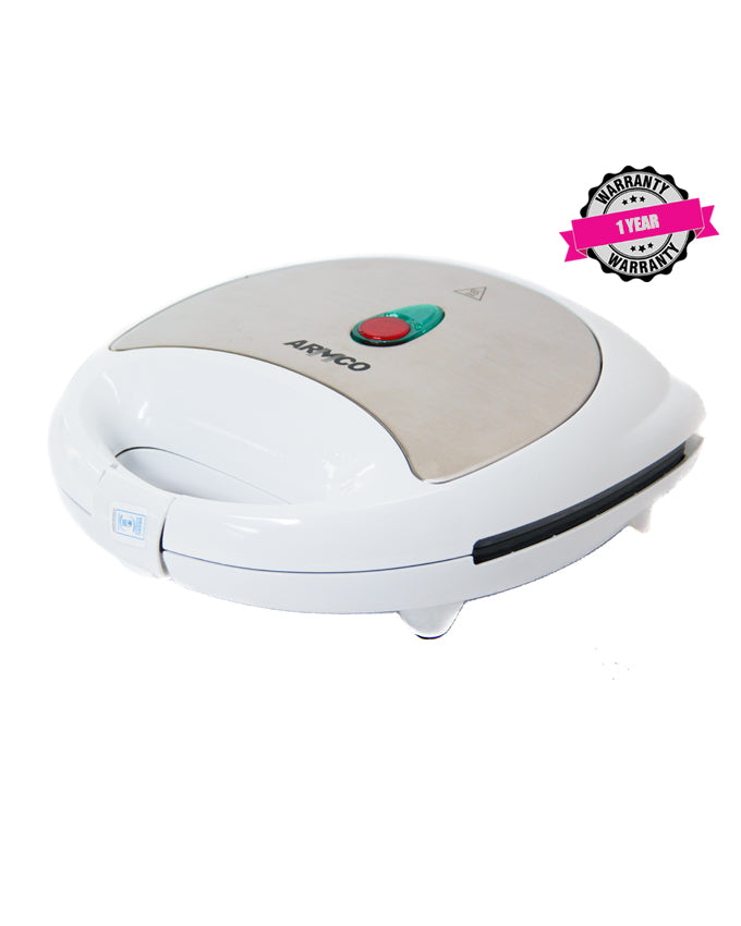 ARMCO AST-T2000 - 2 Slice Non Stick Sandwich Maker, 750W, White & Stainless Steel.