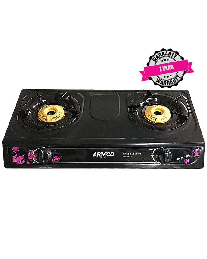 ARMCO GC-7210P2 - 2 Burner Tabletop Gas Cooker, Slim Compact, Auto ignition, Enamel Pan Support, 100x100 Burner Cap, Free 2M pipe, Black.
