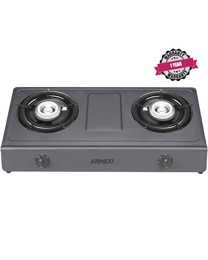 ARMCO GC-8265P2 - 2 Burner Tabletop Gas Cooker, NON-STICK, FREE 2M Pipe, Black.