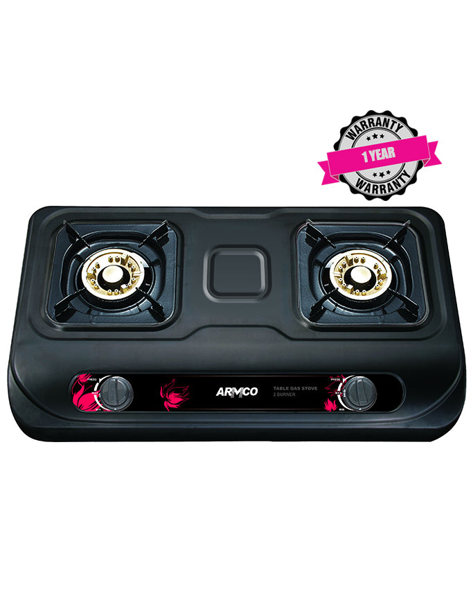 ARMCO GC-8280P2 - 2 Burner Tabletop Gas Cooker, Golden Iron Cap, Enamel Pan Support, FREE 2M Pipe.