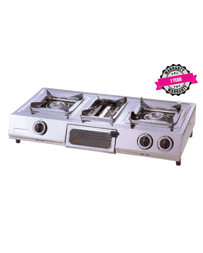 ARMCO GC-8300P - 2 Burner Tabletop Gas Cooker, (1 WOK) + Grill, Stainless Steel.