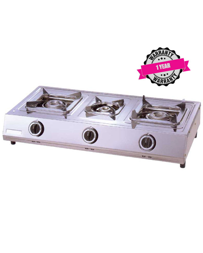 ARMCO GC-8310P - 3 Burner (1 WOK) Tabletop Gas Cooker, Stainless Steel.