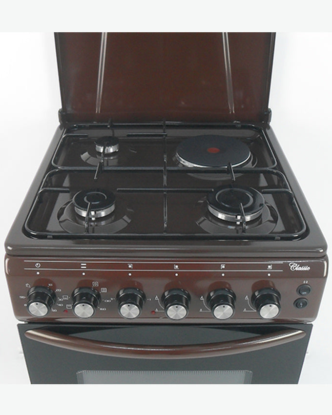 ARMCO GC-F5531FX(BR) - 3Gas , 1 Electric (RAPID), 50x50 Gas Cooker, Mechanical Timer, Brown.