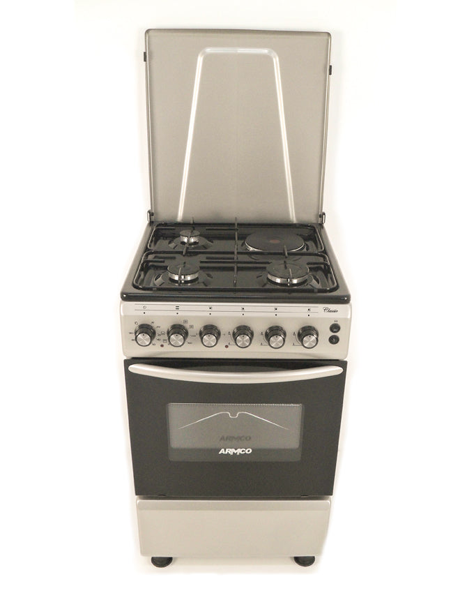 RMCO Standing Cooker GC-F5531FX(SL) in Kenya 3Gas, 1 Electric (RAPID), 50x50 Gas Cooker, Mechanical Timer, Silver