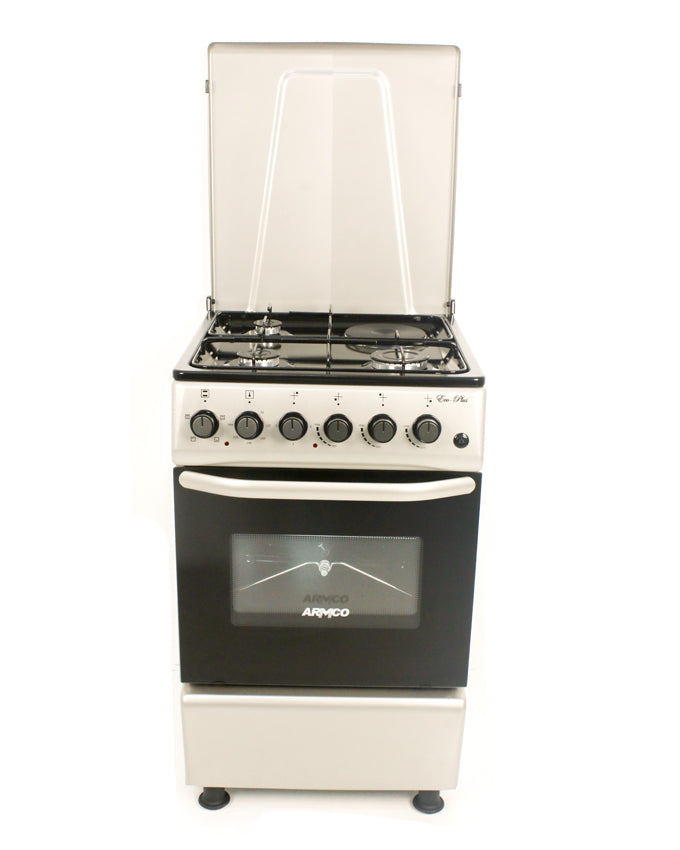 ARMCO Standing cooker GC-F5531PX(SL) in Kenya 3 Gas, 1 Electric, 50x50 Gas Cooker, Silver