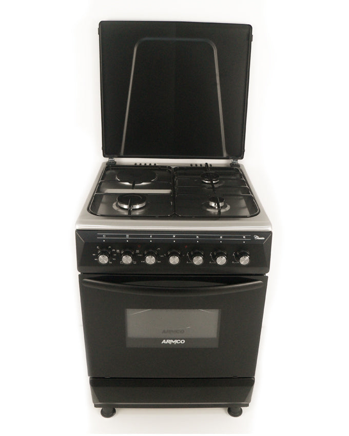 ARMCO Standing Cooker GC-F6631FX(BK) in Kenya 3 Gas, 1 Electric, 60x60 Gas Cooker, Mechanical Timer, Black