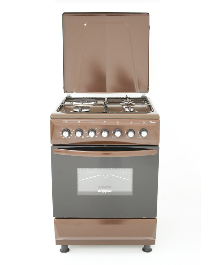 ARMCO Standing cooker GC-F6631FX(BR) in Kenya 3 Gas, 1 Electric, 60x60 Gas Cooker, Mechanical Timer, Brown