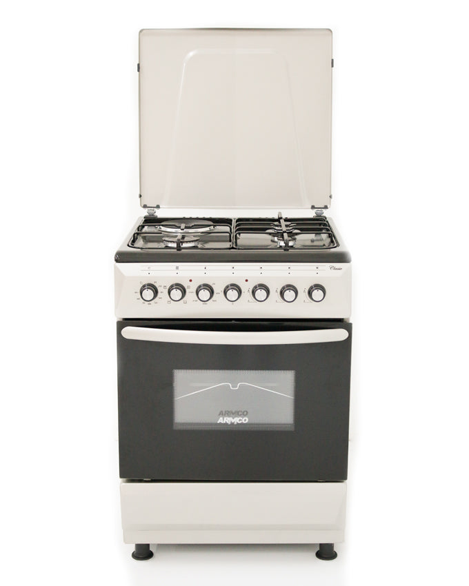 ARMCO Standing cooker GC-F6631FX(SL) in Kenya 3 Gas, 1 Electric, 60x60 Gas Cooker, Mechanical Timer, Silver