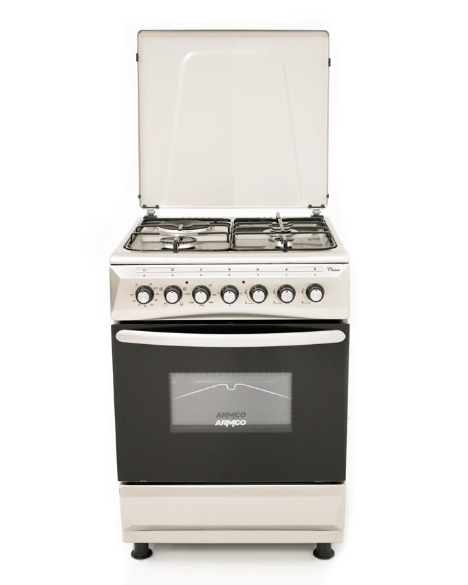 ARMCO Standing cooker GC-F6631FX(SS) in Kenya 3 Gas, 1 Electric, 60x60 Gas Cooker, Mechanical Timer, Stainless Steel