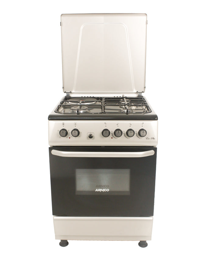 ARMCO Gas Cooker GC-F6631PX(SL) in Kenya 3 Gas, 1 Electric, 60x60 Gas Cooker, Mechanical Timer, Silver
