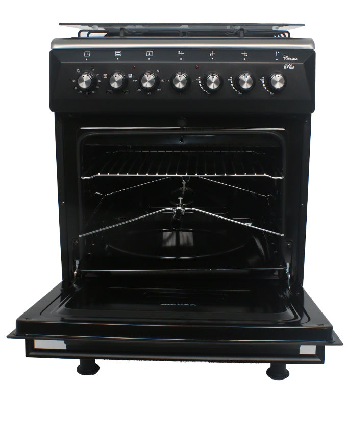 ARMCO GC-F6631QX(BK) - 3 Multi Gas Burners , 1 Electric, 60x60 Gas Cooker, Mechanical Timer, Tempered Glass Lid, Black.