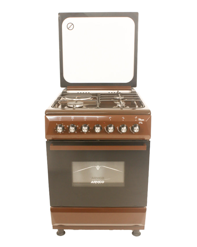 ARMCO Standing cooker GC-F6631QX(BR) in Kenya- 3 GAS + 1 Electric, 60x60 Cooker, Mech. Timer, Tempered Glass Lid, Brown