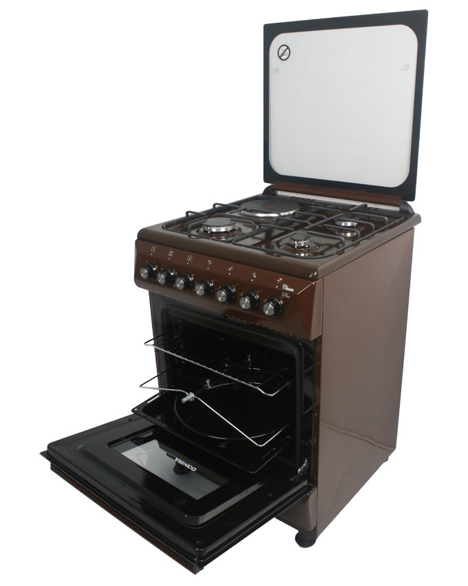 ARMCO GC-F6631QX(BR) - 3 Multi Gas Burners , 1 Electric, 60x60 Gas Cooker, Mechanical Timer, Tempered Glass Lid, Brown.