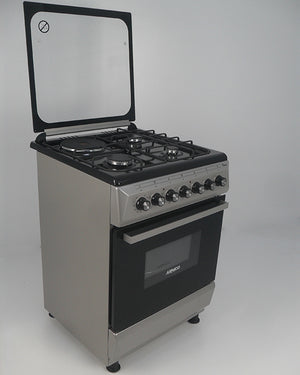 ARMCO GC-F6631QX(SL) - 3 Multi Gas Burners , 1 Electric, 60x60 Gas Cooker, Mechanical Timer, Tempered Glass Lid, Silver